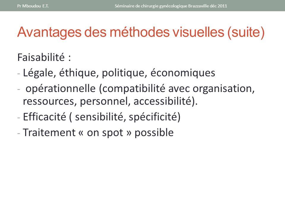 Avantages des méthodes visuelles (suite)