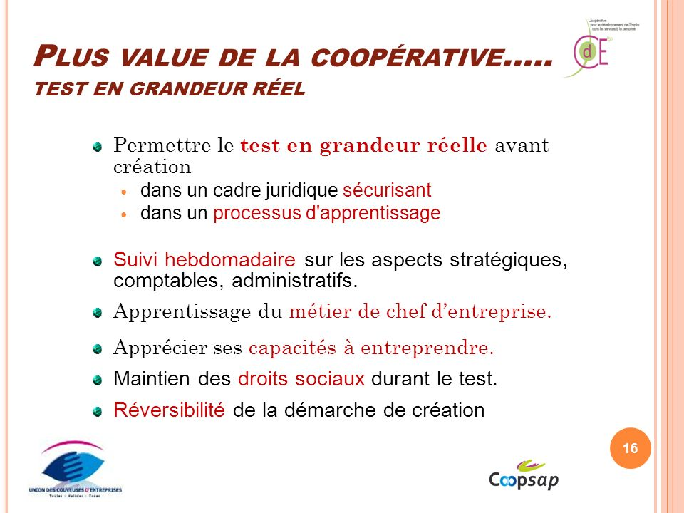 Plus value de la coopérative….. test en grandeur réel