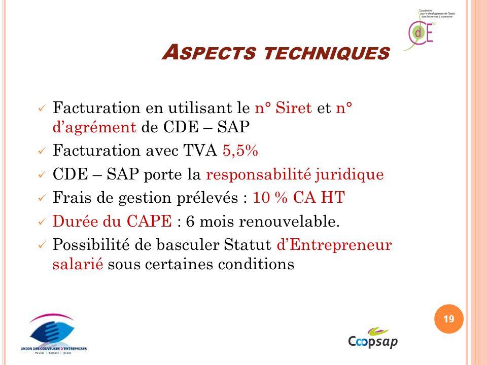 Aspects techniques Facturation en utilisant le n° Siret et n° d'agrément de CDE – SAP. Facturation avec TVA 5,5%