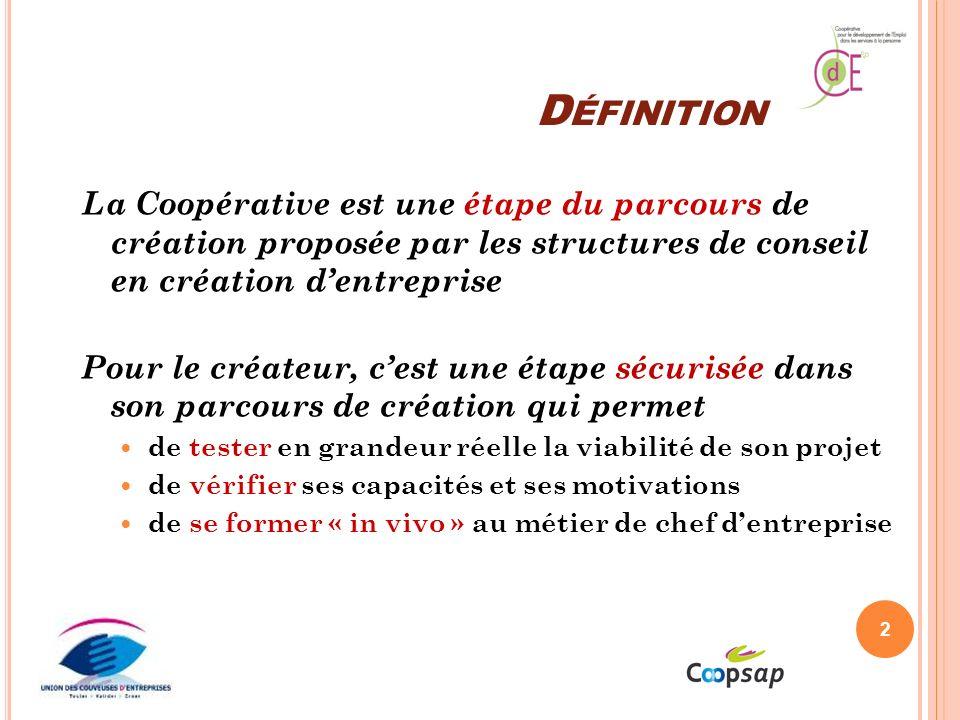 Définition La Coopérative est une étape du parcours de création proposée par les structures de conseil en création d'entreprise.