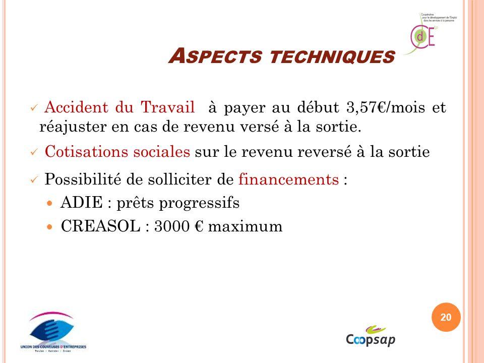 Aspects techniques Accident du Travail à payer au début 3,57€/mois et réajuster en cas de revenu versé à la sortie.