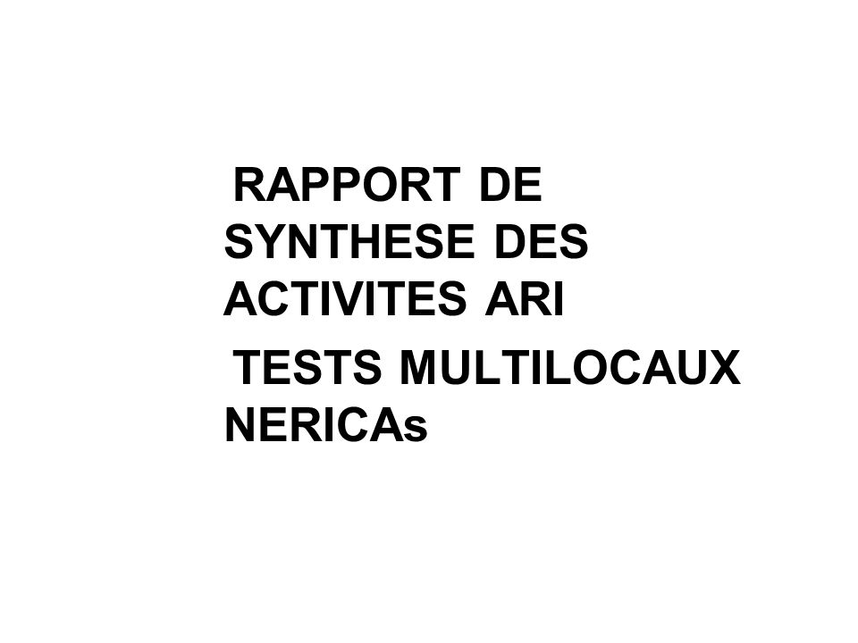 RAPPORT DE SYNTHESE DES ACTIVITES ARI