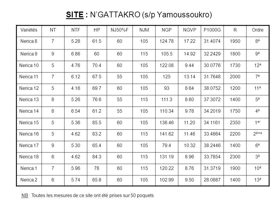 SITE : N'GATTAKRO (s/p Yamoussoukro)