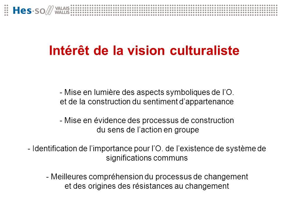 Intérêt de la vision culturaliste