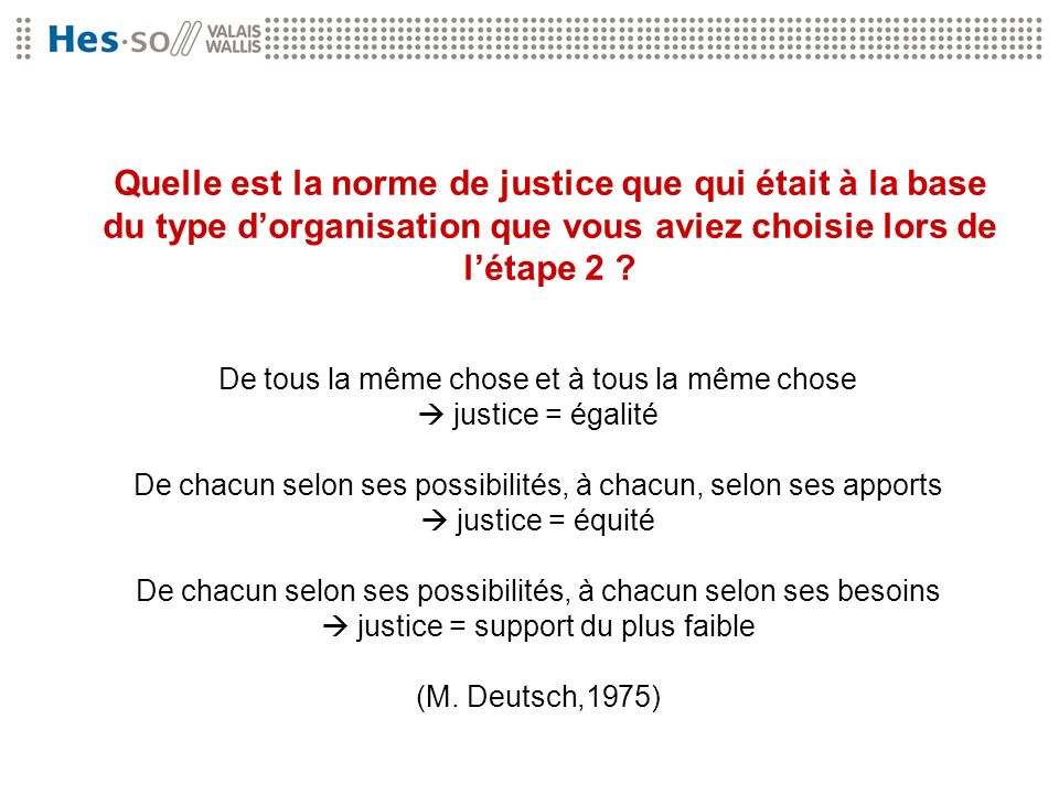 Quelle est la norme de justice que qui était à la base du type d'organisation que vous aviez choisie lors de l'étape 2
