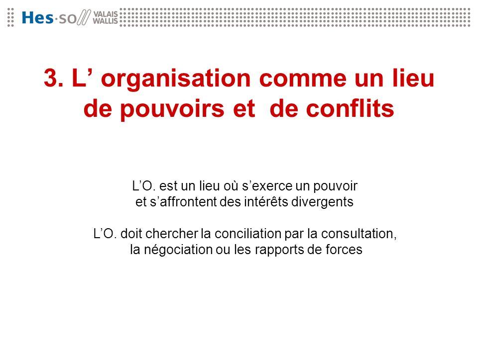 3. L' organisation comme un lieu de pouvoirs et de conflits