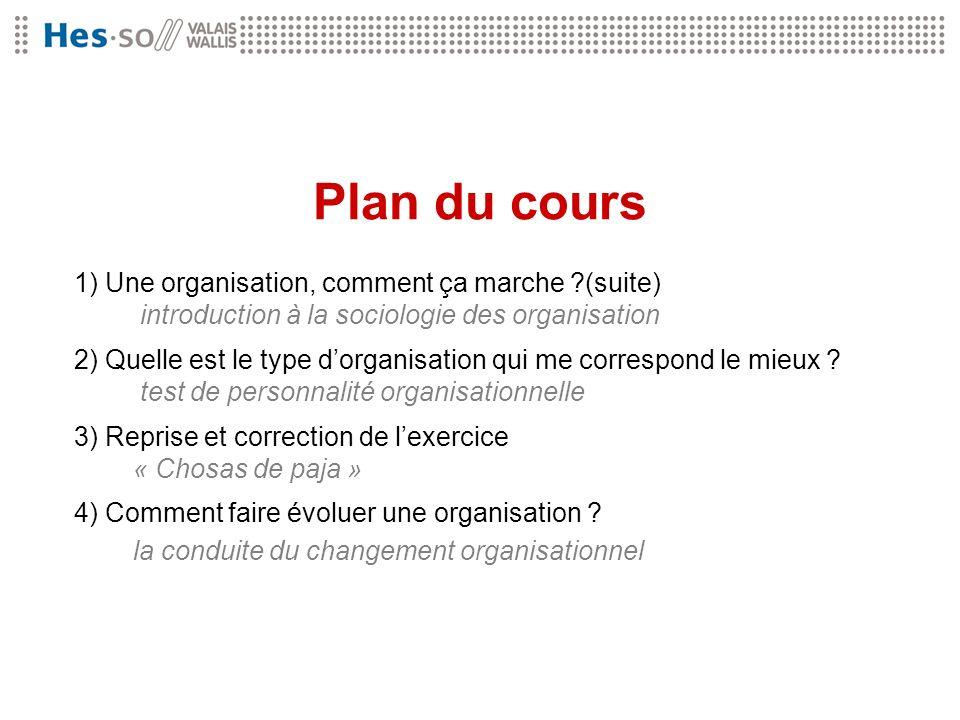 Plan du cours 1) Une organisation, comment ça marche (suite) introduction à la sociologie des organisation.