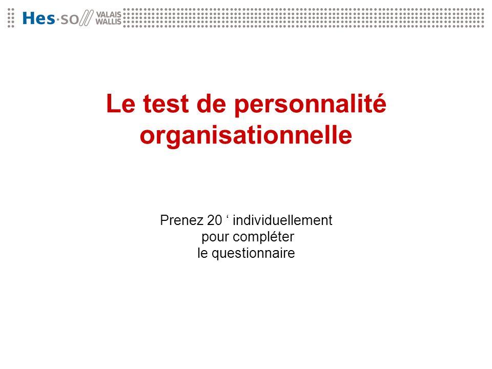 Le test de personnalité organisationnelle