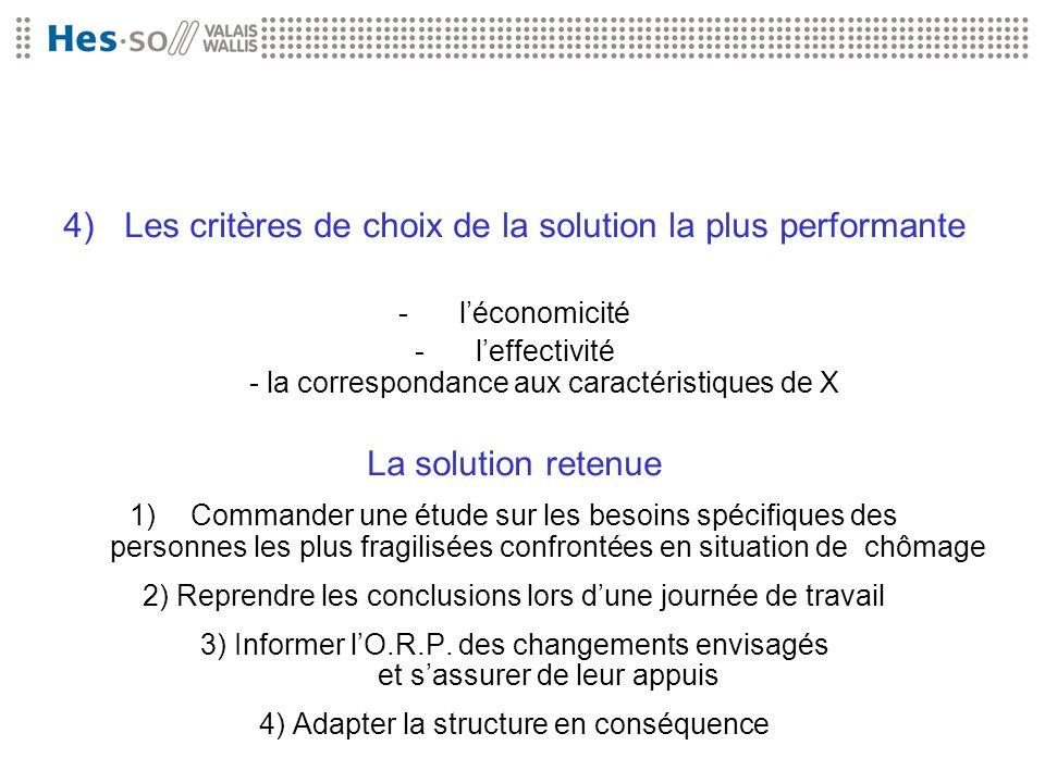 4) Les critères de choix de la solution la plus performante