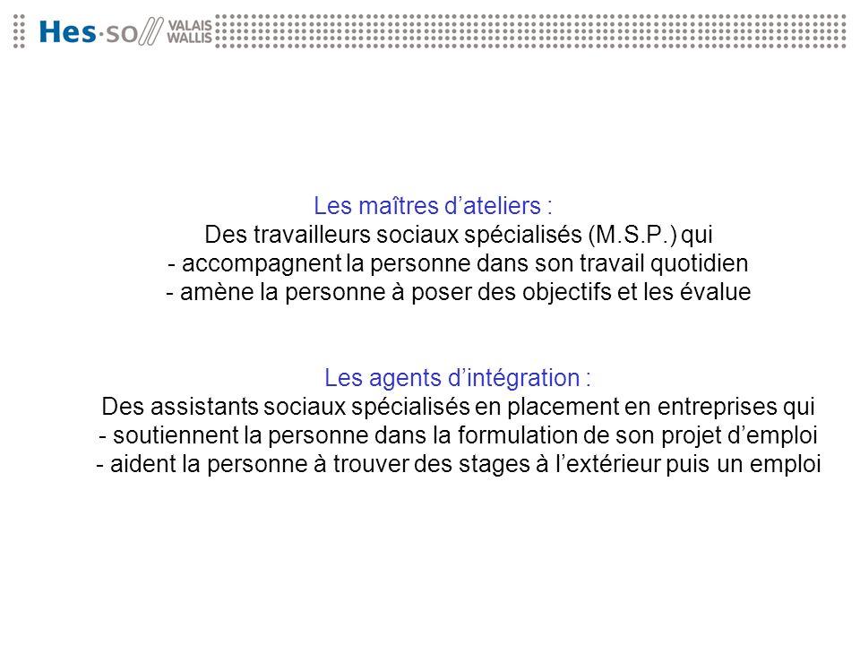 Les maîtres d'ateliers : Des travailleurs sociaux spécialisés (M. S. P