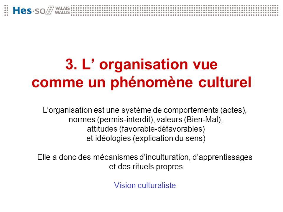 3. L' organisation vue comme un phénomène culturel