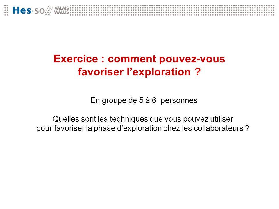 Exercice : comment pouvez-vous favoriser l'exploration
