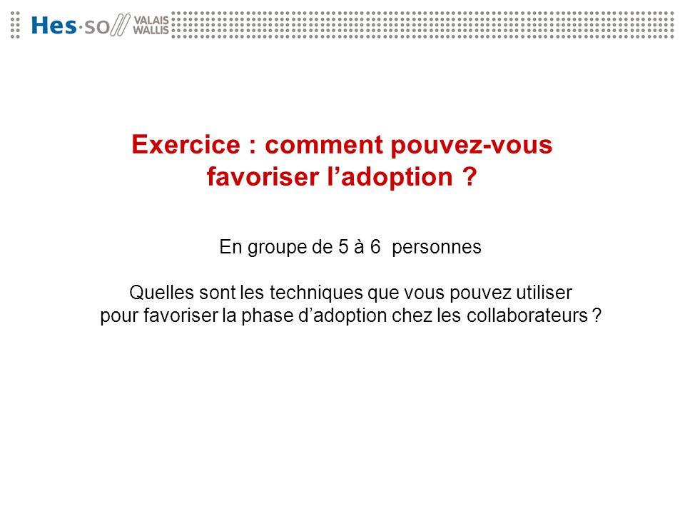 Exercice : comment pouvez-vous favoriser l'adoption