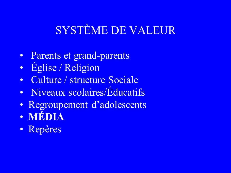 SYSTÈME DE VALEUR Parents et grand-parents Église / Religion
