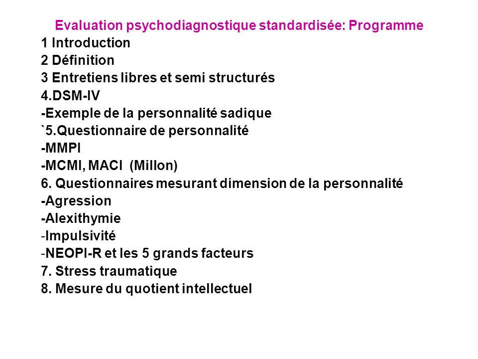 evaluation psychodiagnostique standardis e programme ppt t l charger. Black Bedroom Furniture Sets. Home Design Ideas