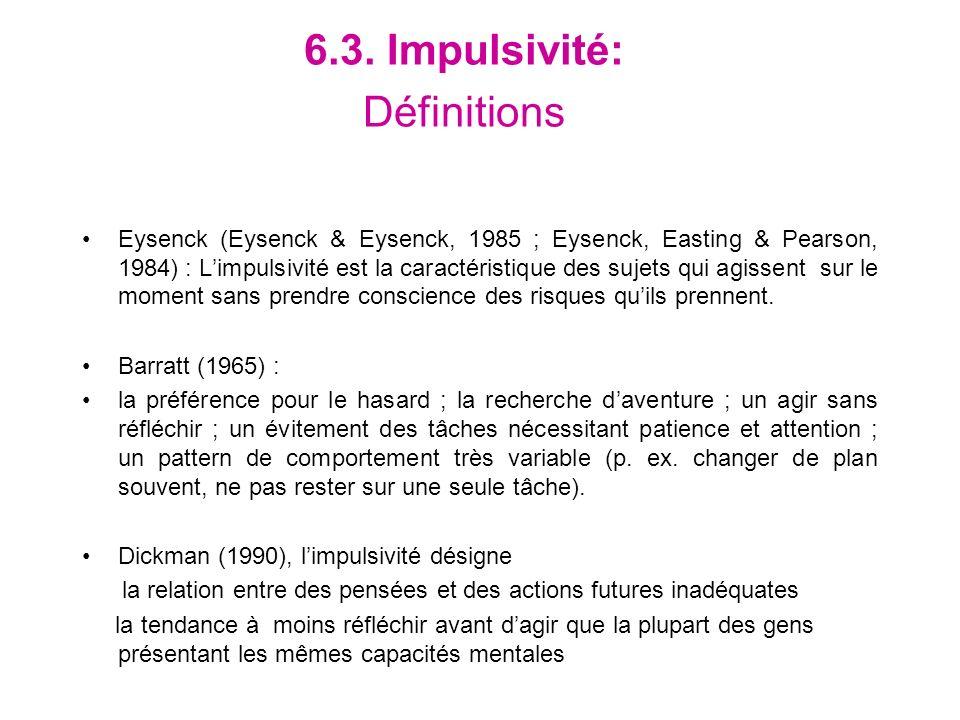 6.3. Impulsivité: Définitions