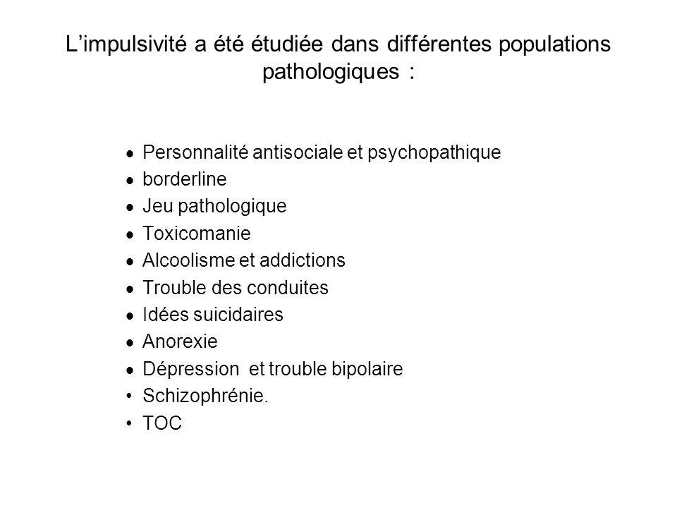 L'impulsivité a été étudiée dans différentes populations pathologiques :