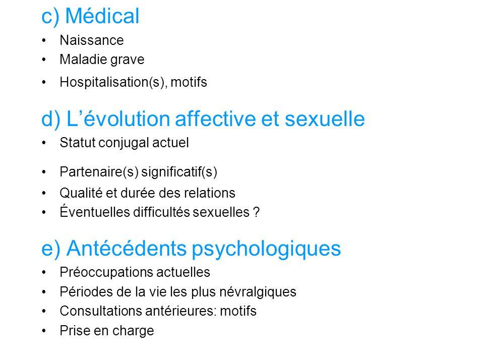 d) L'évolution affective et sexuelle