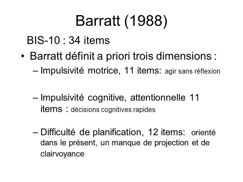 Barratt (1988) BIS-10 : 34 items. Barratt définit a priori trois dimensions : Impulsivité motrice, 11 items: agir sans réflexion.
