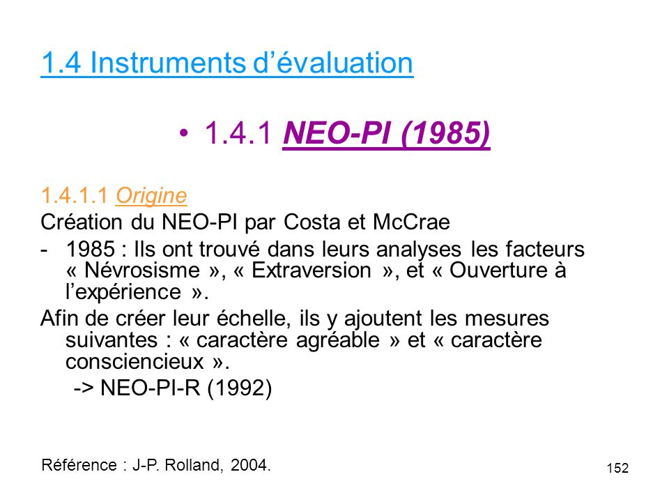 1.4 Instruments d'évaluation