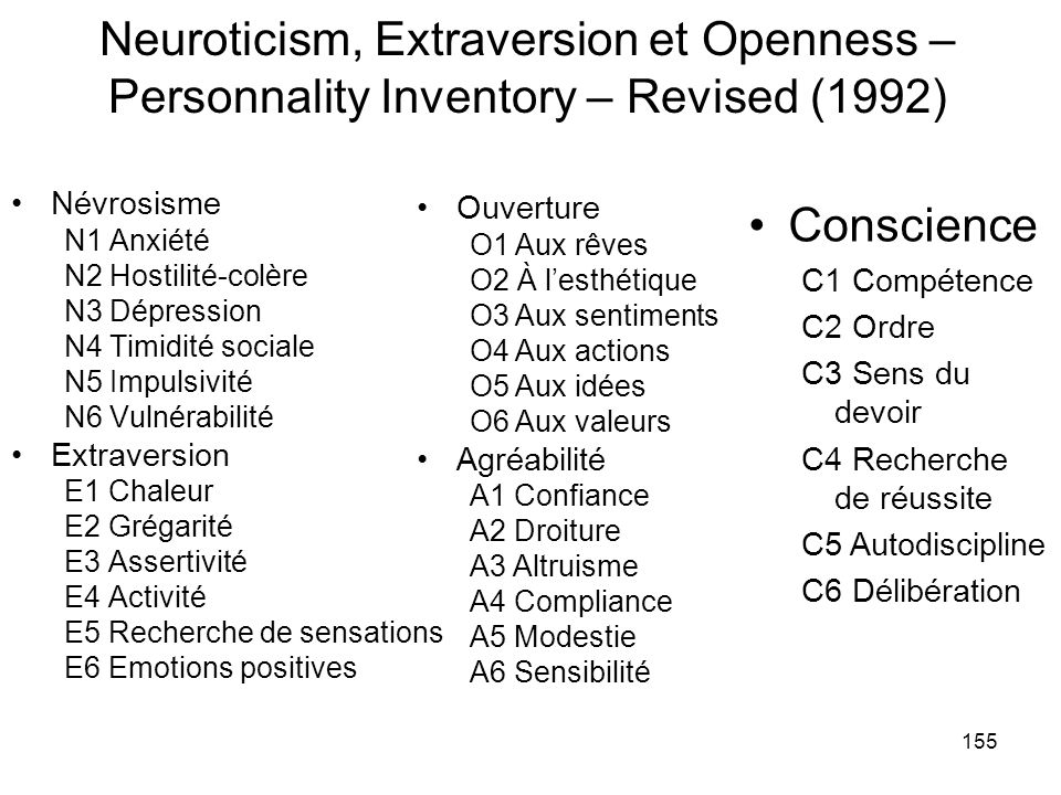 Neuroticism, Extraversion et Openness – Personnality Inventory – Revised (1992)