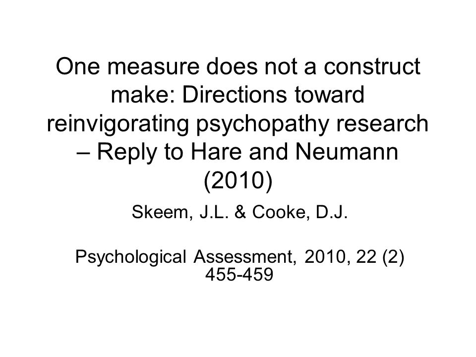 Psychological Assessment, 2010, 22 (2) 455-459