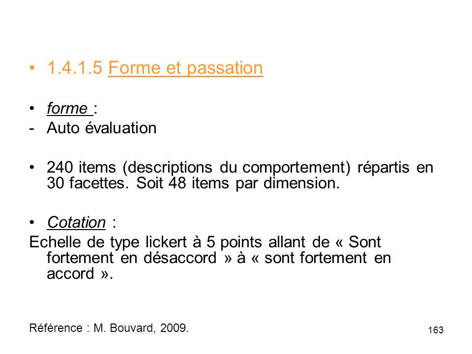 1.4.1.5 Forme et passation forme : Auto évaluation