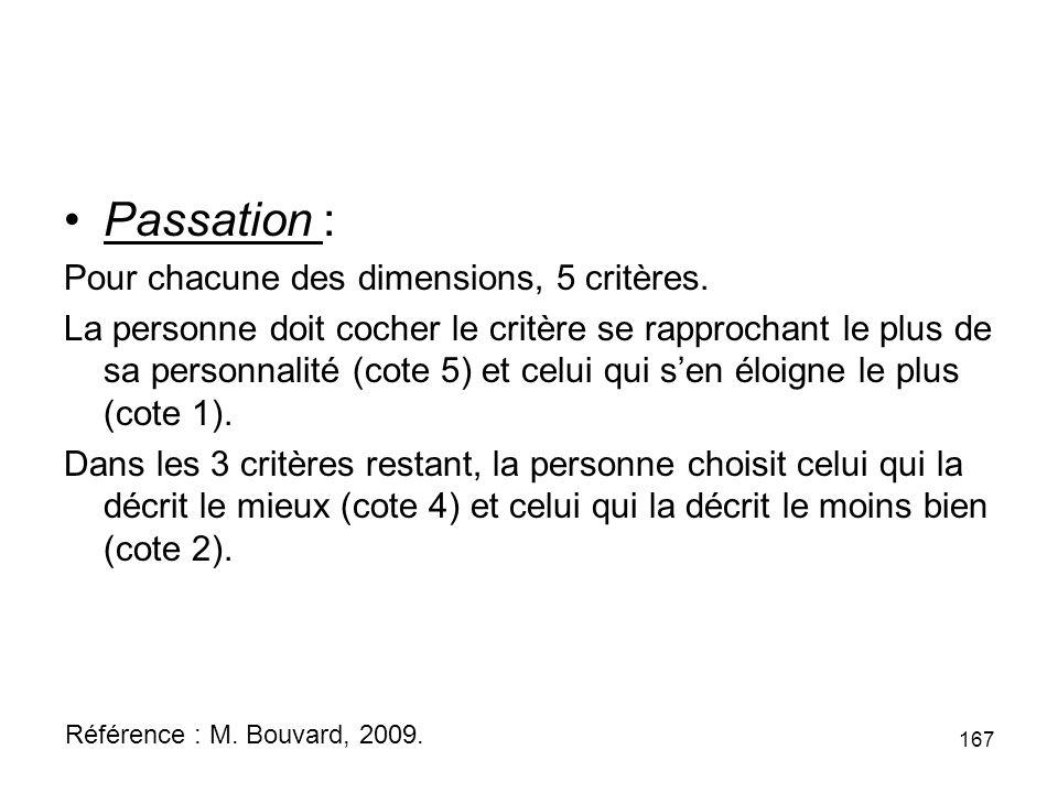 Passation : Pour chacune des dimensions, 5 critères.