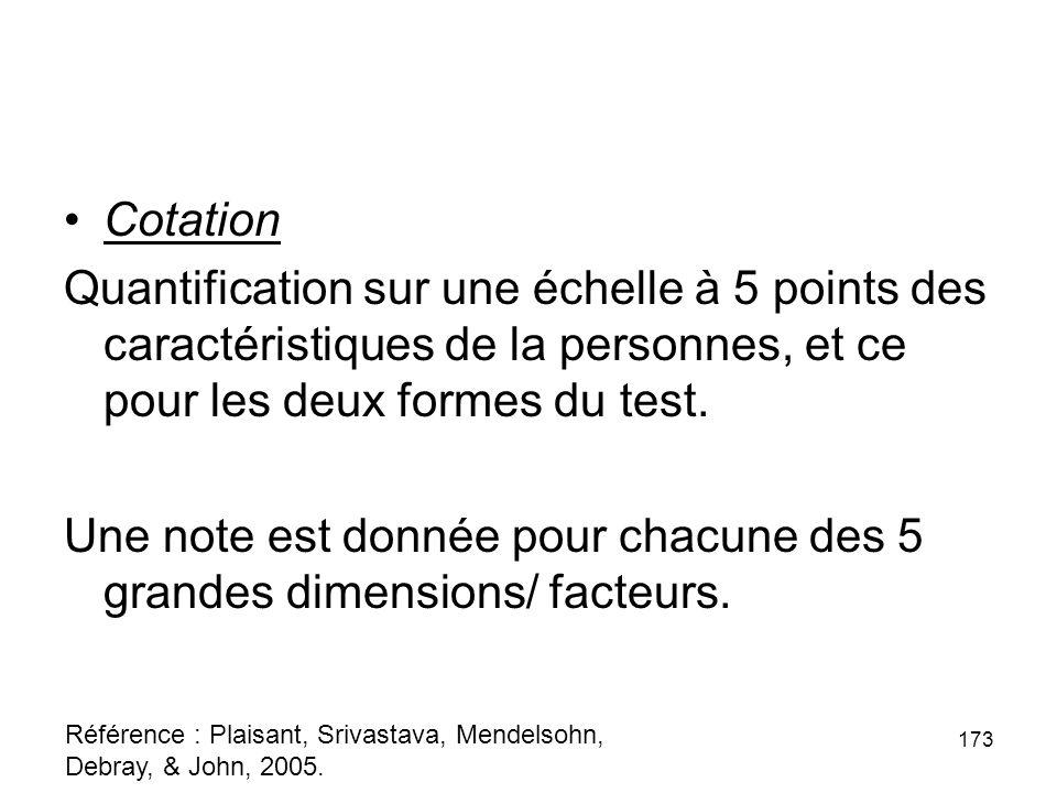 Une note est donnée pour chacune des 5 grandes dimensions/ facteurs.