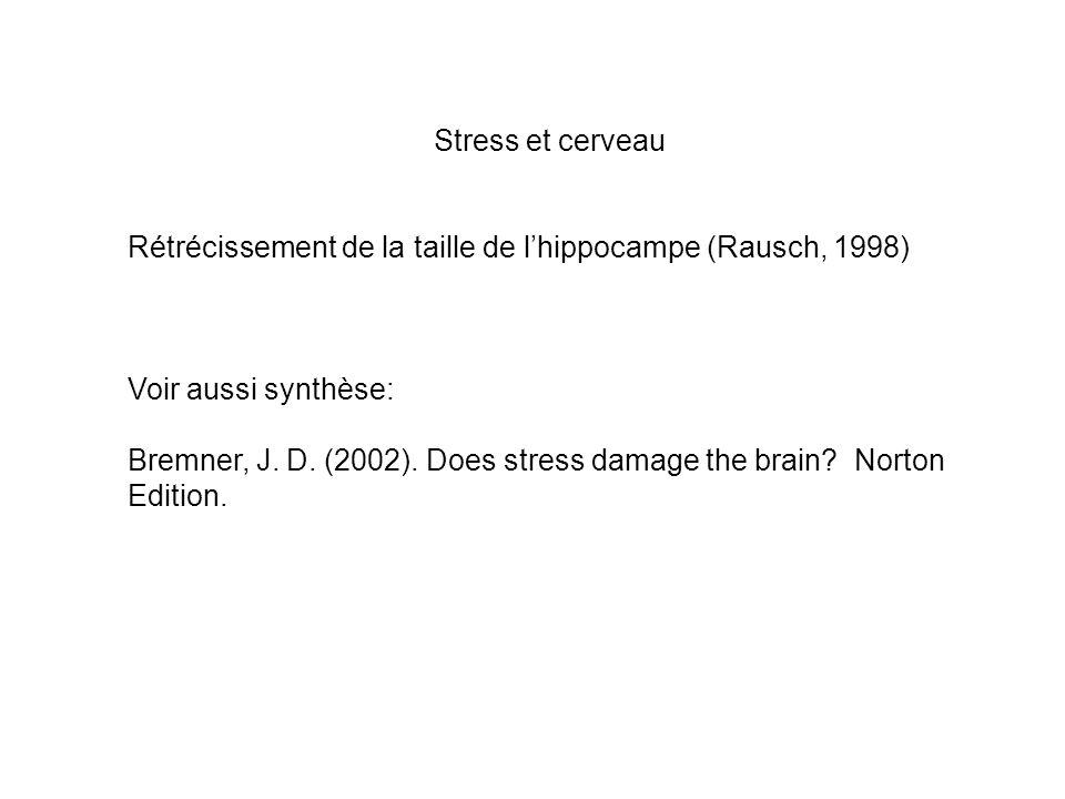 Stress et cerveau Rétrécissement de la taille de l'hippocampe (Rausch, 1998) Voir aussi synthèse: