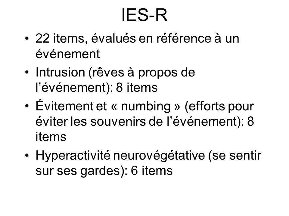 IES-R 22 items, évalués en référence à un événement