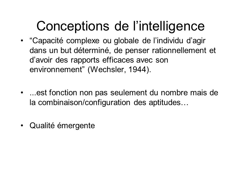 Conceptions de l'intelligence