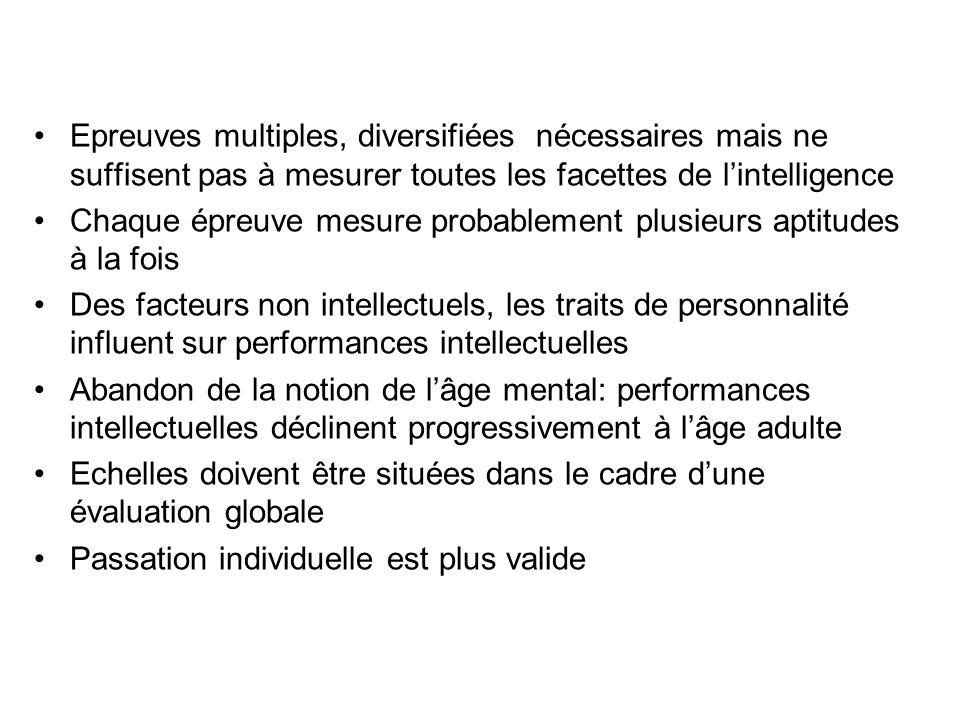 Epreuves multiples, diversifiées nécessaires mais ne suffisent pas à mesurer toutes les facettes de l'intelligence