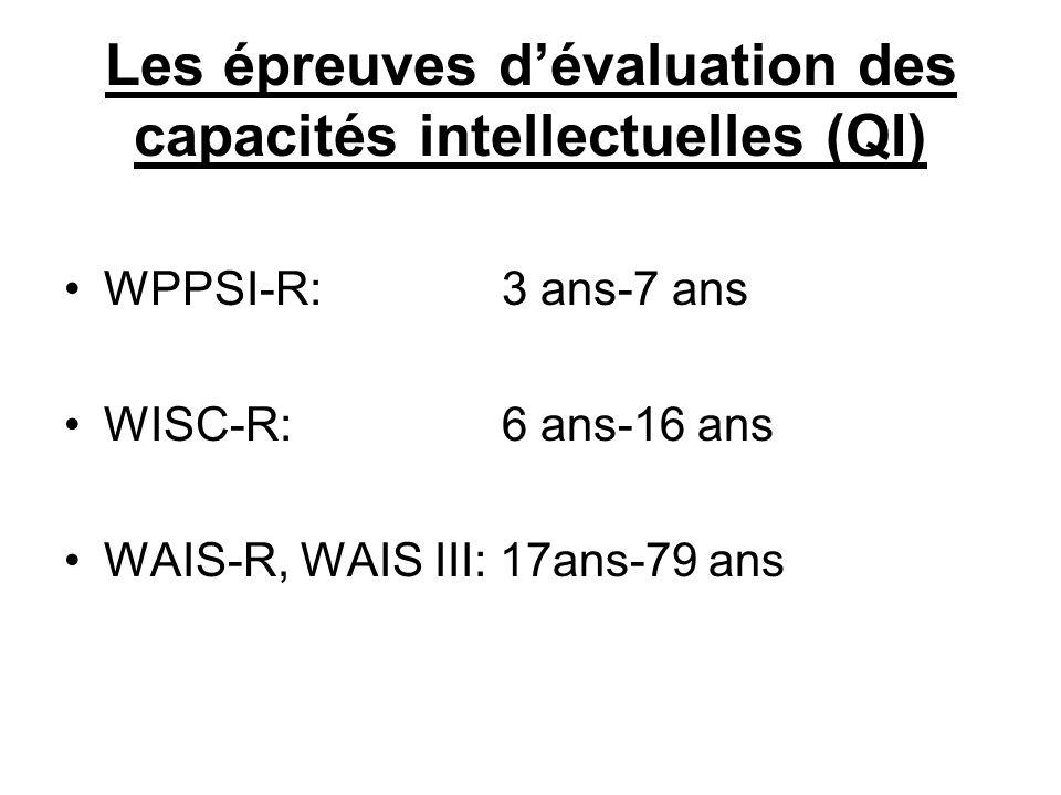 Les épreuves d'évaluation des capacités intellectuelles (QI)