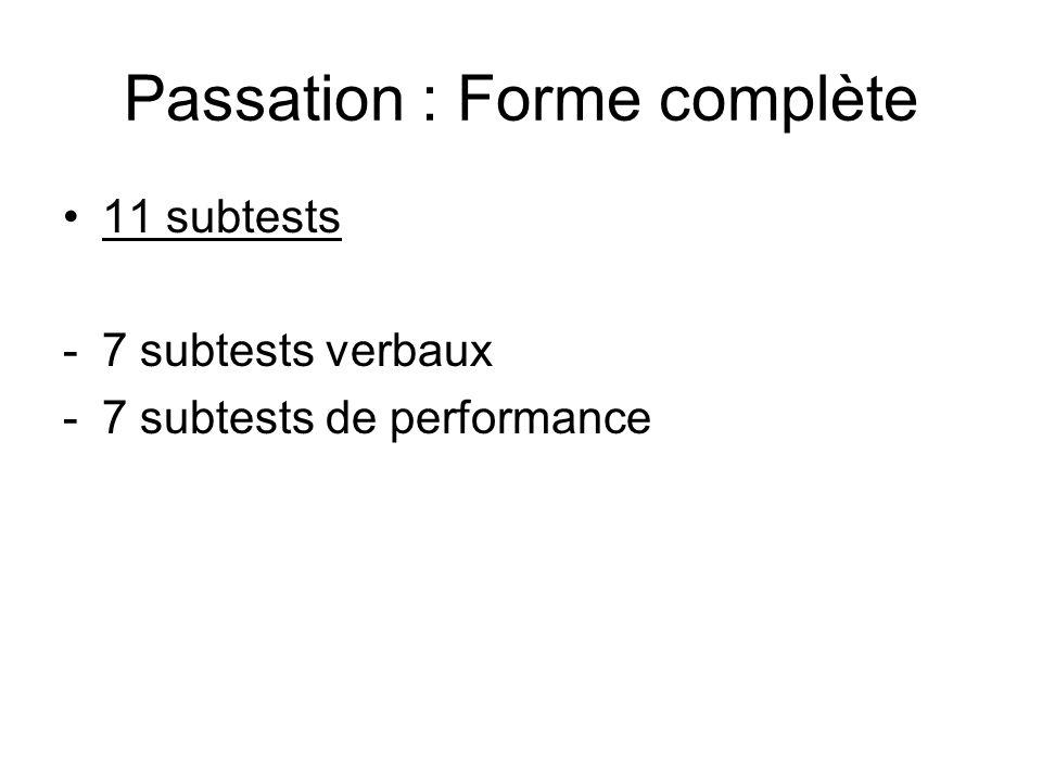 Passation : Forme complète
