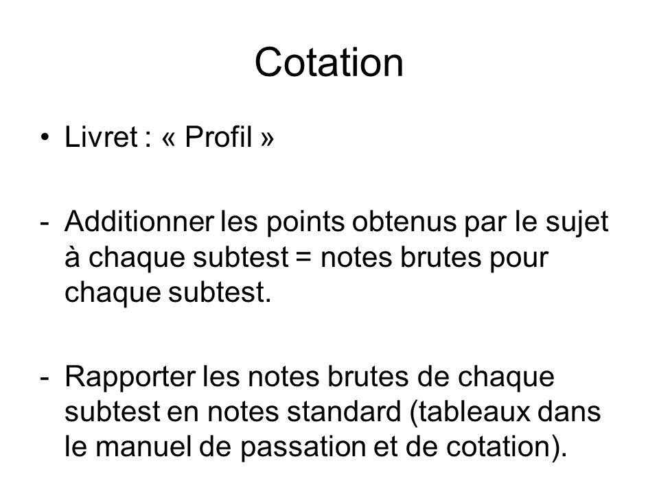 Cotation Livret : « Profil »