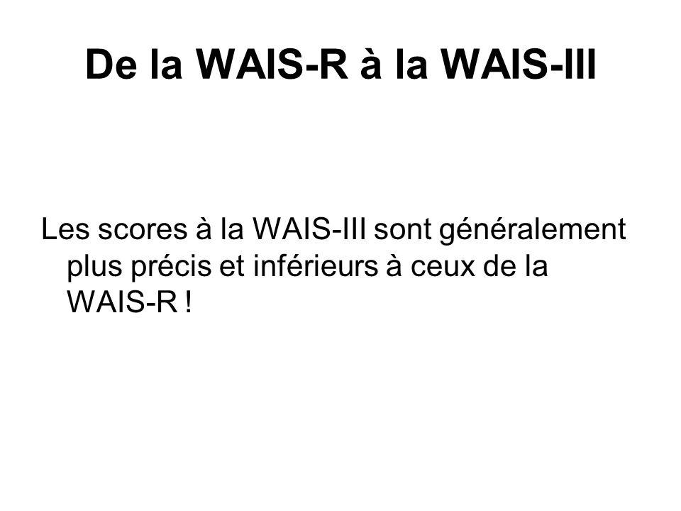 De la WAIS-R à la WAIS-III