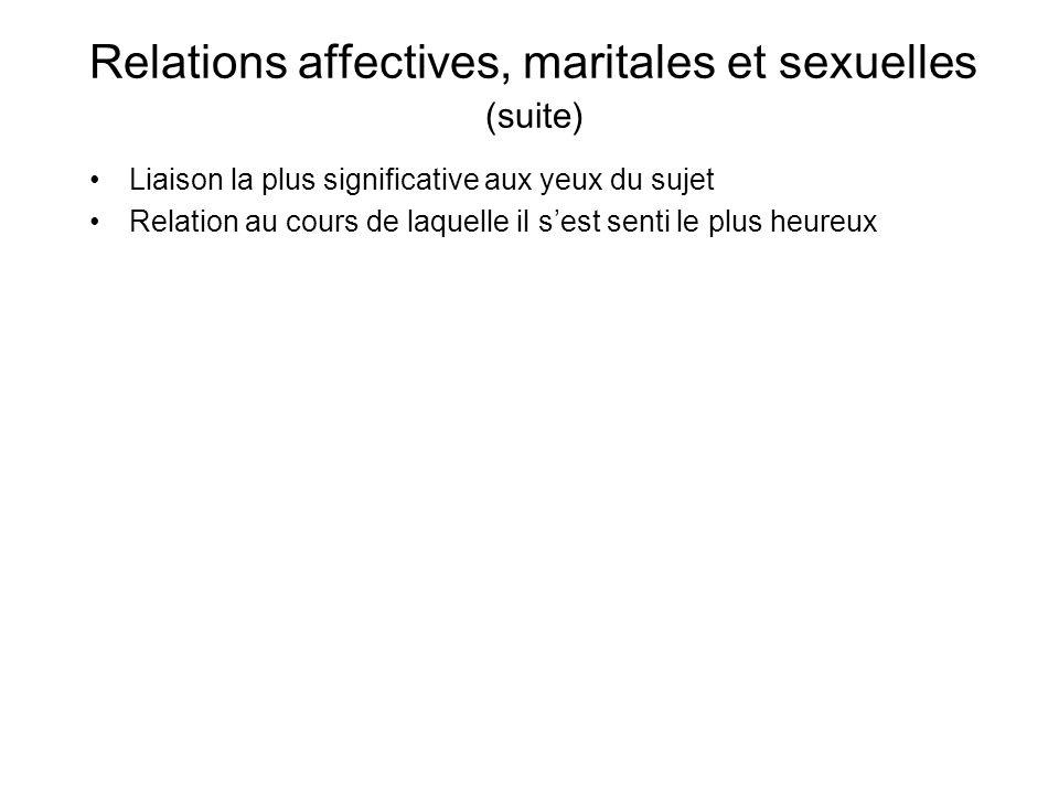 Relations affectives, maritales et sexuelles (suite)