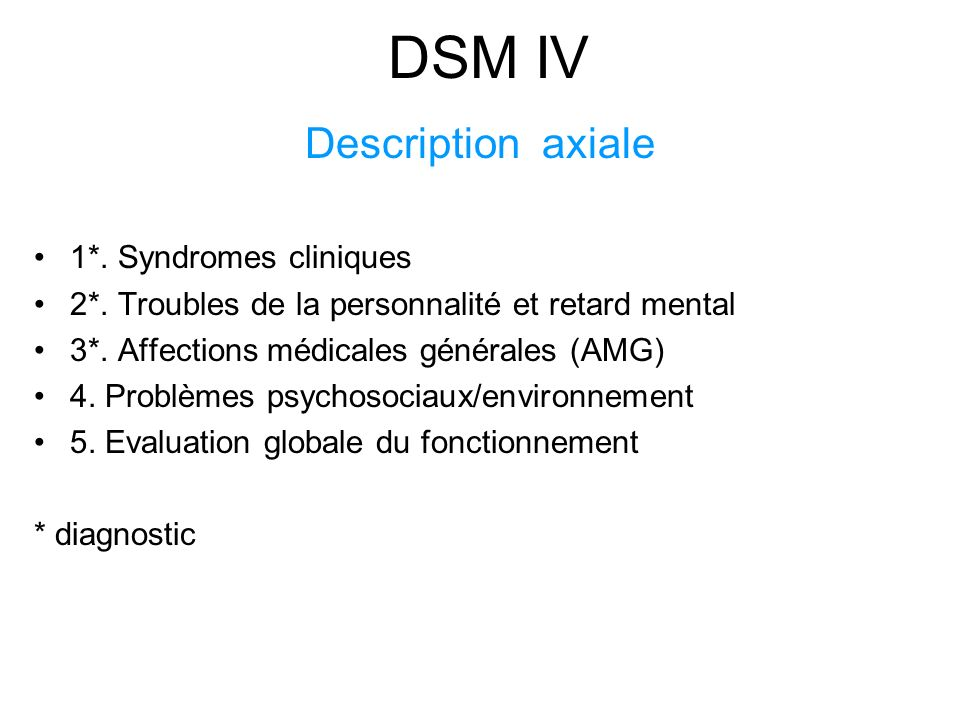 DSM IV Description axiale 1*. Syndromes cliniques