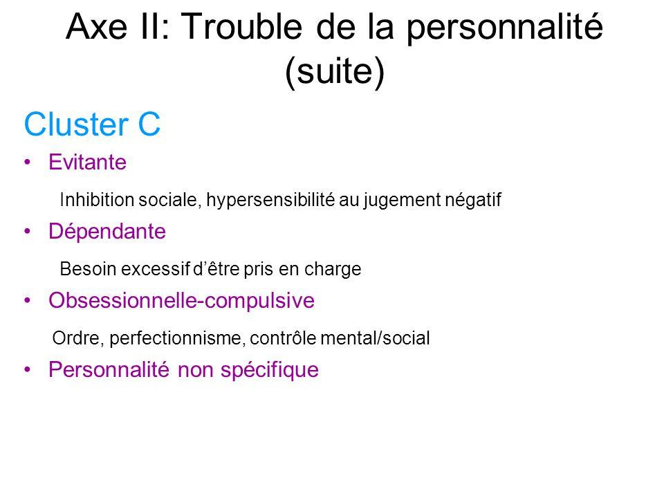 Axe II: Trouble de la personnalité (suite)