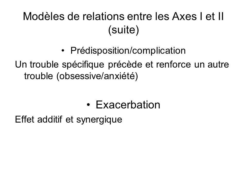 Modèles de relations entre les Axes I et II (suite)