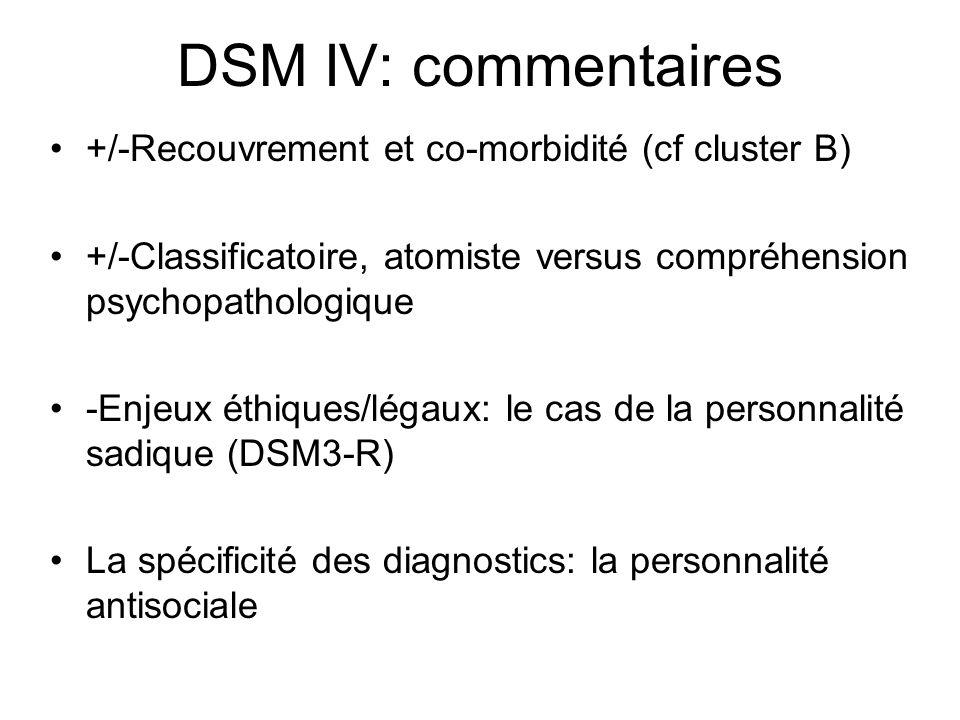 DSM IV: commentaires +/-Recouvrement et co-morbidité (cf cluster B)