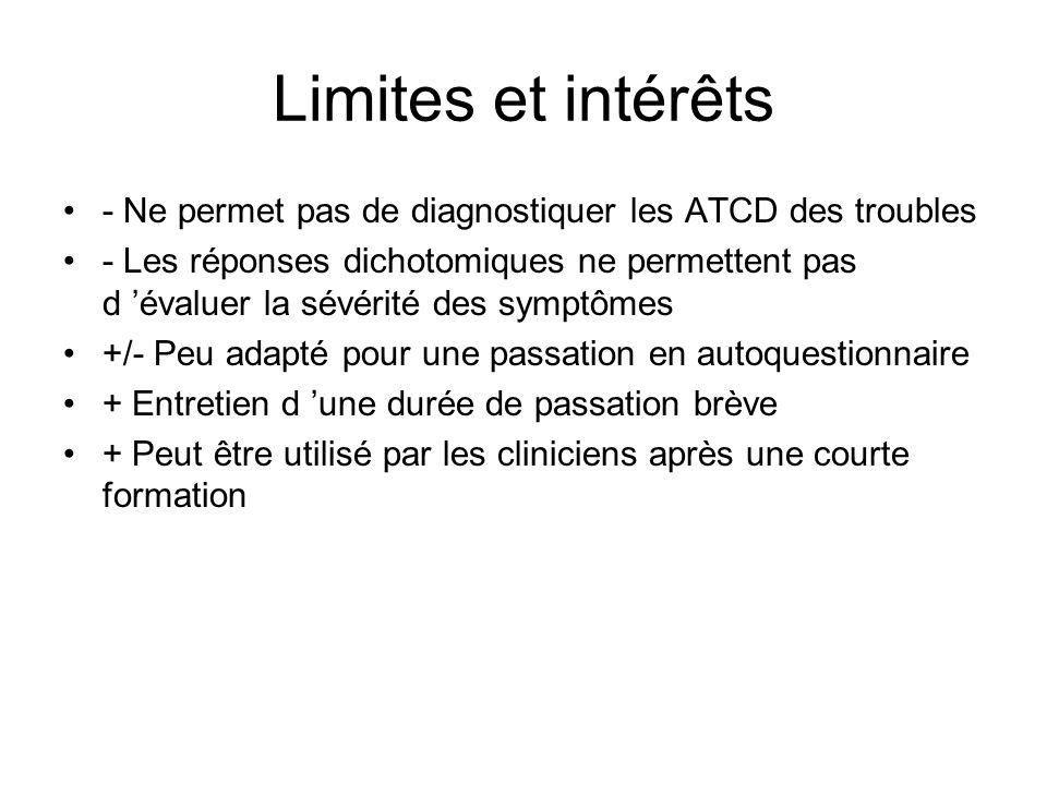 Limites et intérêts - Ne permet pas de diagnostiquer les ATCD des troubles.