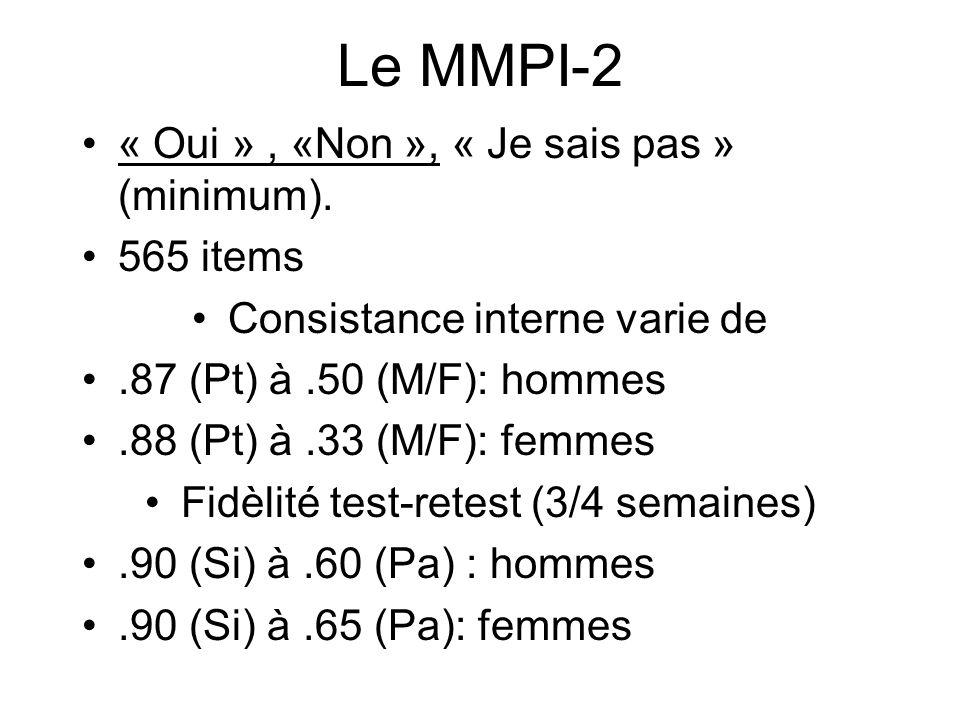 Le MMPI-2 « Oui » , «Non », « Je sais pas » (minimum). 565 items