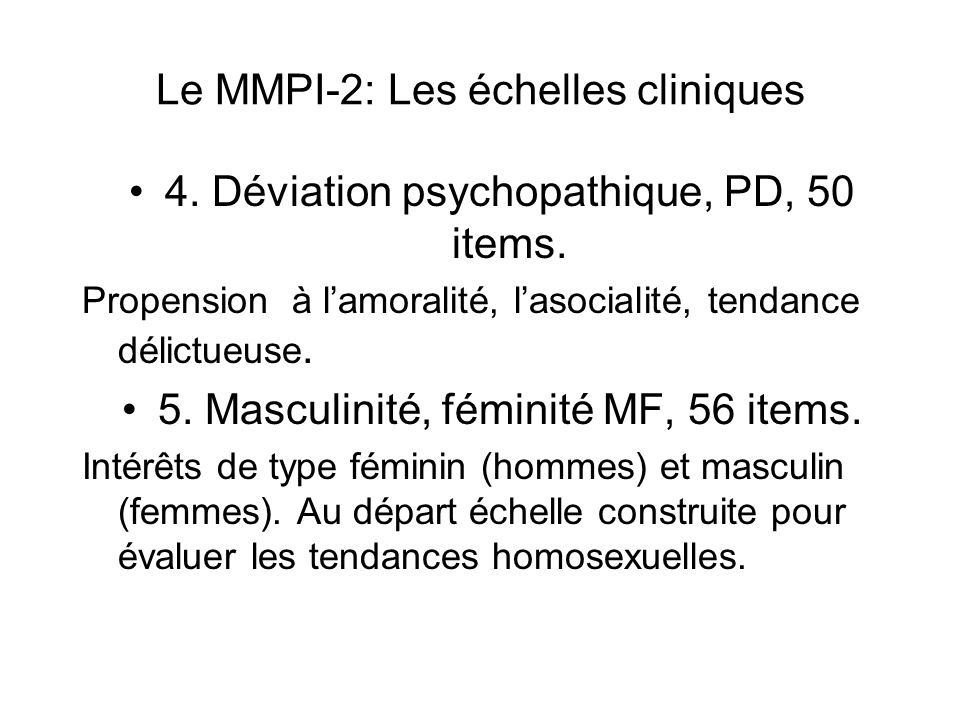 Le MMPI-2: Les échelles cliniques