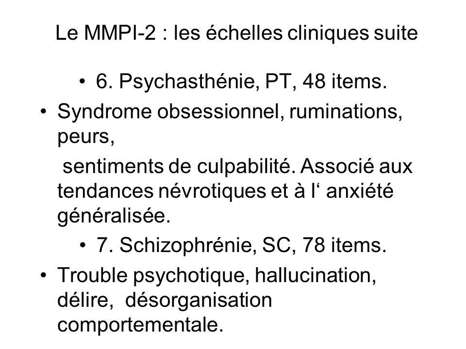 Le MMPI-2 : les échelles cliniques suite