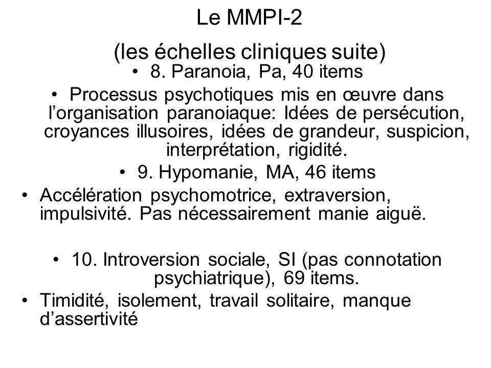 Le MMPI-2 (les échelles cliniques suite)