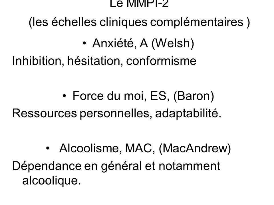 Le MMPI-2 (les échelles cliniques complémentaires )