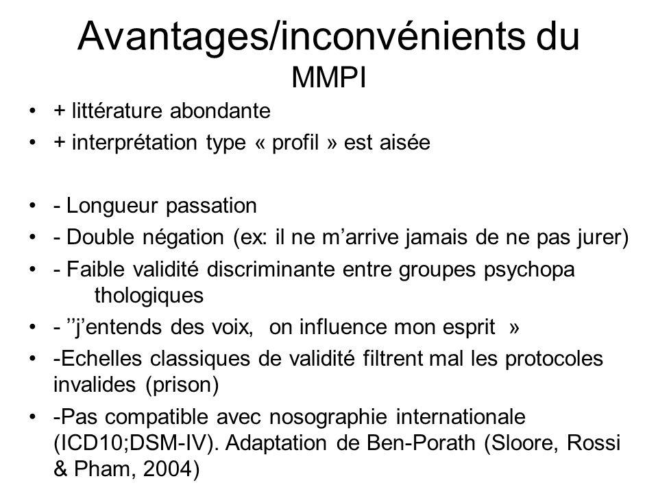 Avantages/inconvénients du MMPI