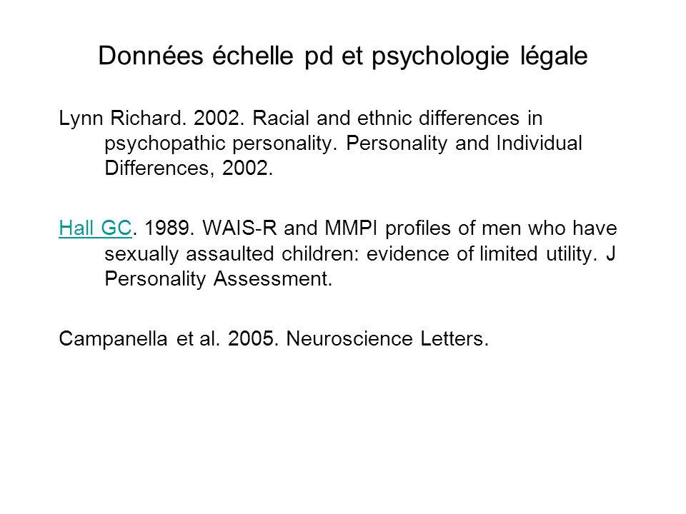 Données échelle pd et psychologie légale